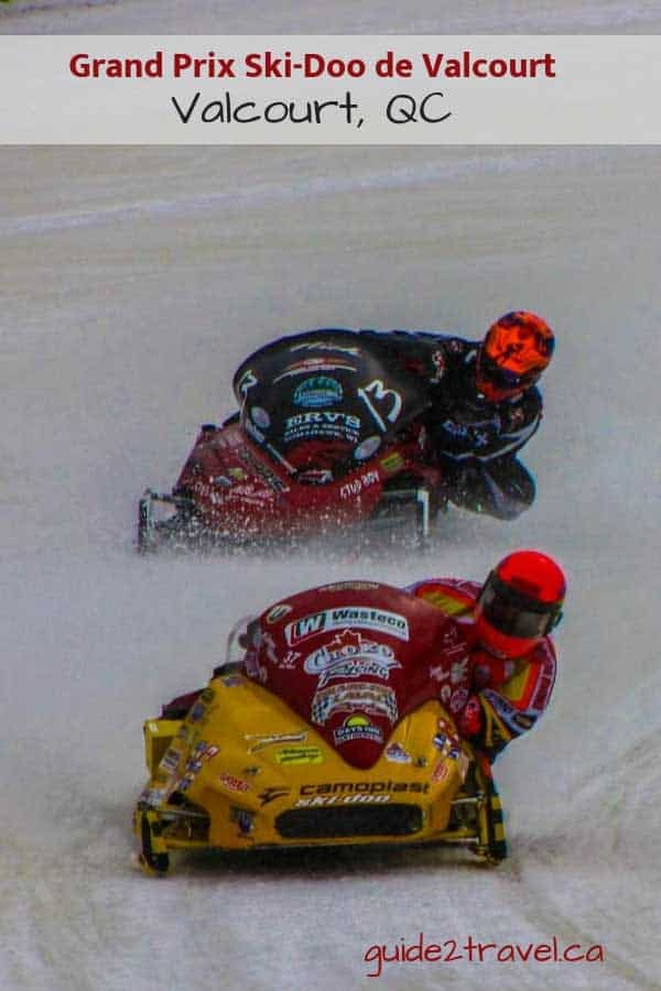 Oval snowmobile racing at the Grand Prix Ski-Doo de Valcourt in Quebec.