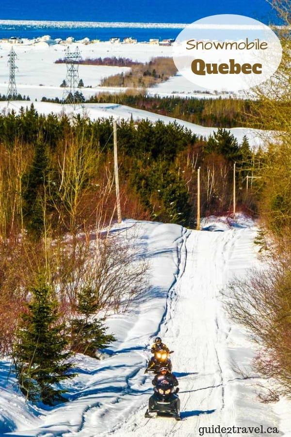 Snowmobiling in the Gaspesie region in Quebec, Canada.