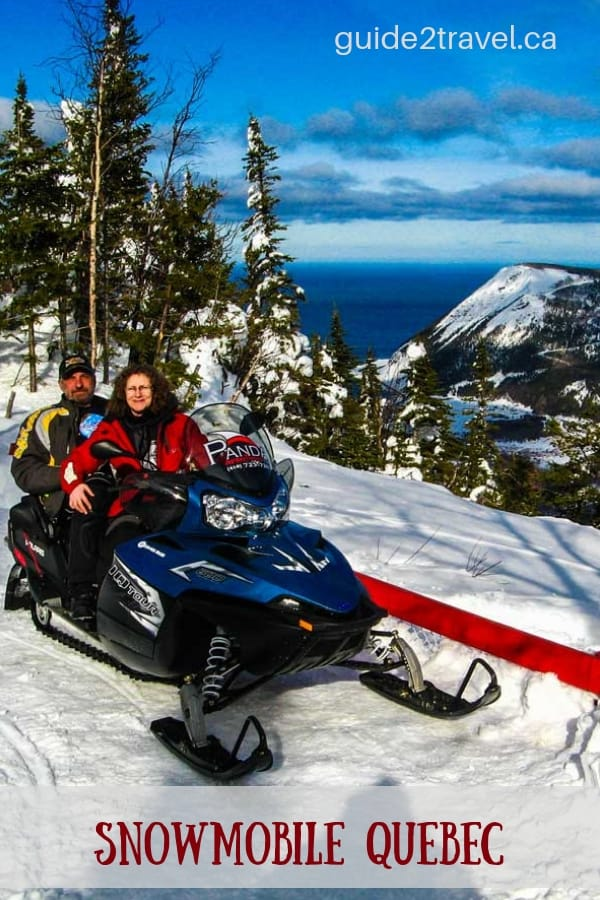 Snowmobiling in the Chic-Choc mountains in Quebec, Canada.
