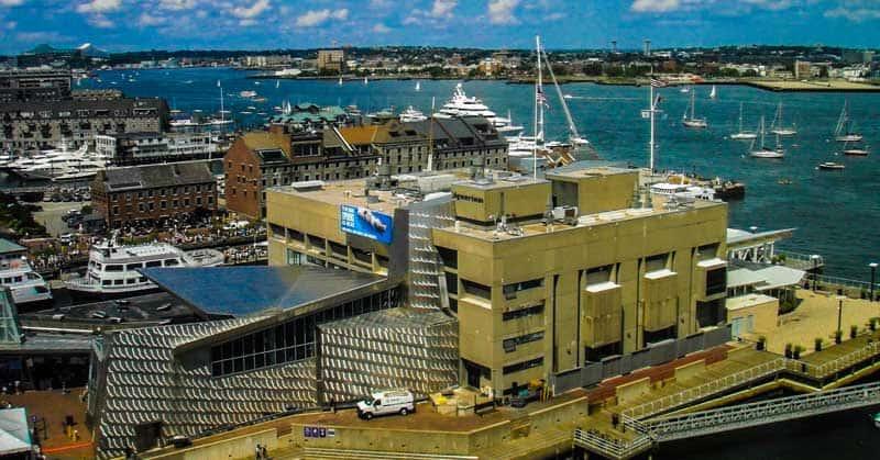 Boston Harbor, City Docks, and New England Aquarium.