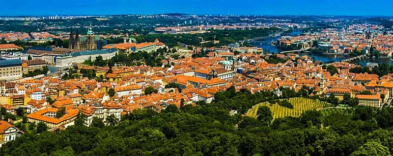 Malá Strana in Prague, Czech Republic, seen from the Pet?ín hill.