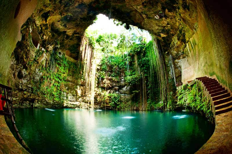 lk-Kil Cenote at Chichen Itza in Mexico. Stock photo.