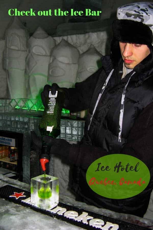 Enjoy a cocktail at the Ice Bar in the Ice Hotel in Quebec, Canada