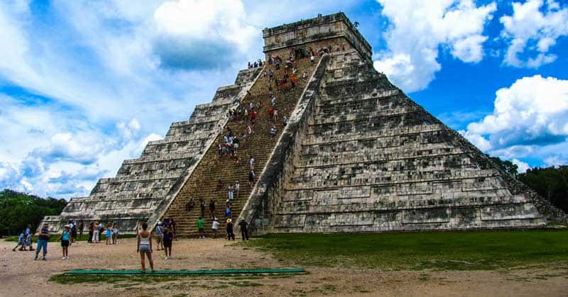 El Castillo Pyramid at Chichen Itza when it was still open for climbing by tourists.