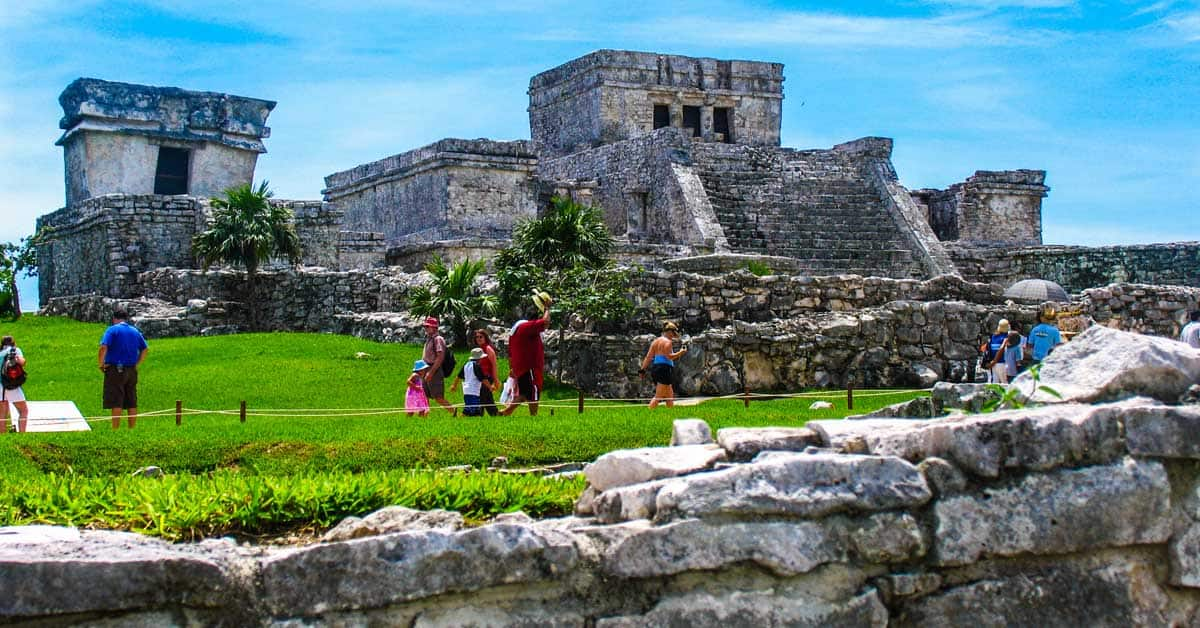 Mayan pyramids and ruins at Tulum in Mexico.