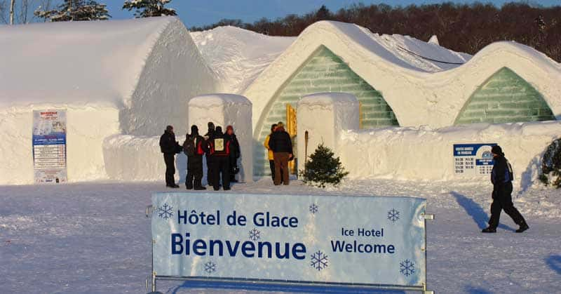 The Ice Hotel or Hôtel de Glace outside Quebec City, Quebec, Canada.