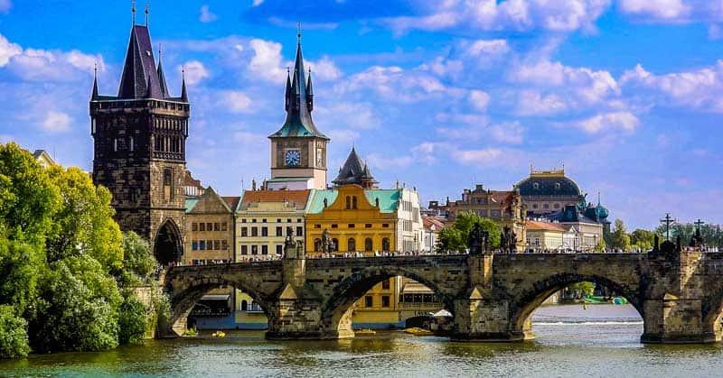 Charles Bridge is the oldest bridge still standing over the Vltava river.