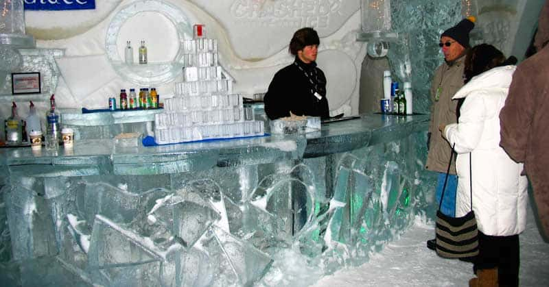Bar inside Quebec's Ice Hotel.