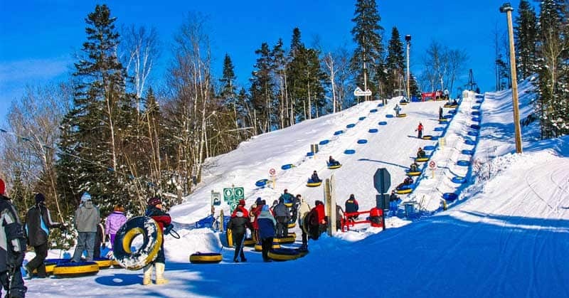 Tube slides at Valcartier winter park experience in Quebec City, Quebec.