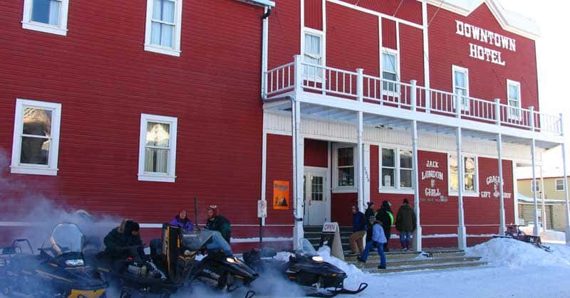 Downtown Hotel in Dawson City, Yukon, during Trek Over the Top.