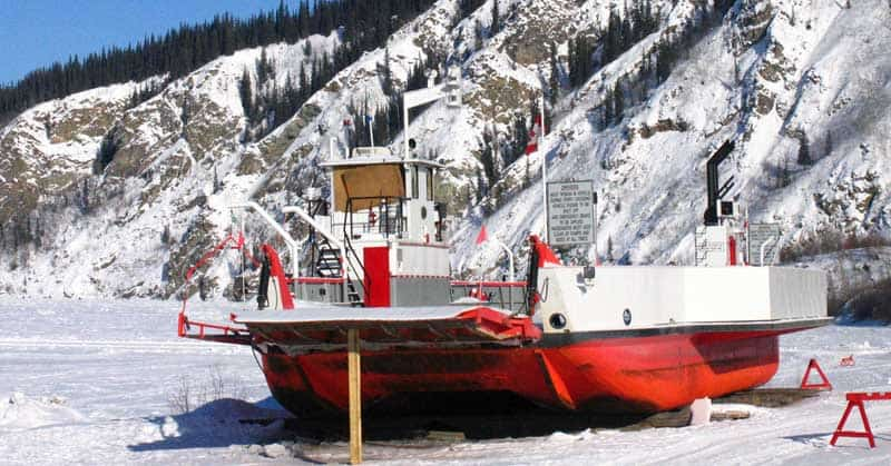 Dawson City, Yukon, ferry, frozen into the Yukon River.