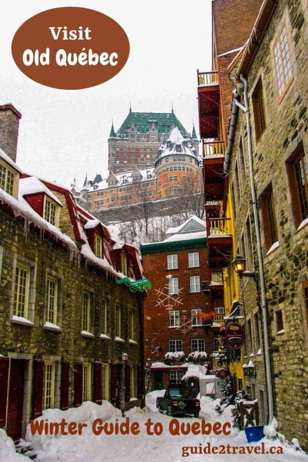 Upper Town in Old Quebec City, Canada., with Chateau Frontenac in the background.