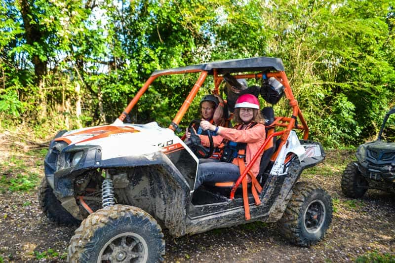Linda Aksomitis ready to drive a Polaris side-by-side in the mountains in Puerta Plata, Dominican.