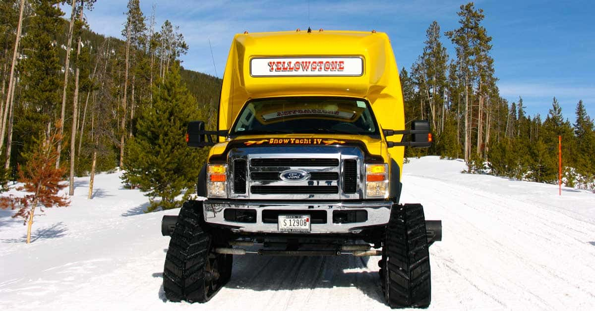 Snow coach in Yellowstone National Park.