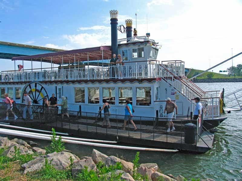 Passengers leaving the Lewis & Clark Riverboat experience in Bismarck, North Dakota.