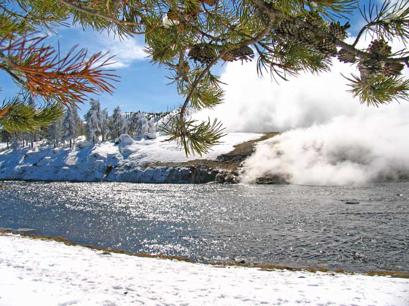 Excelsior Springs in Yellowstone National Park in the winter.