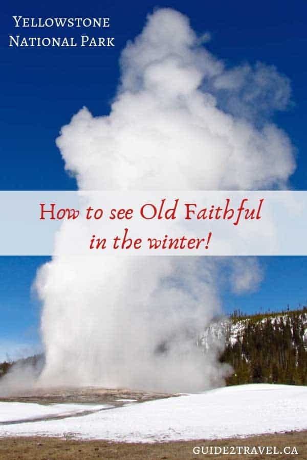 Old Faithful in Yellowstone National Park erupting in the winter.