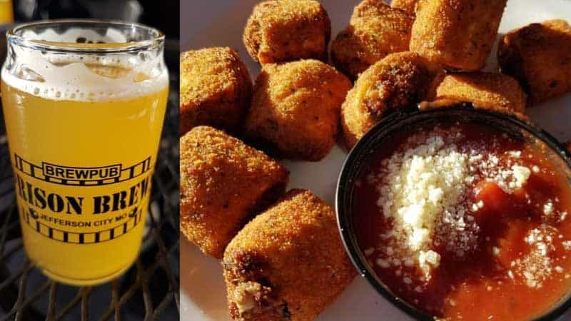 Beer and appetizers at Prison Brews brewpub in Jefferson City, Missouri.