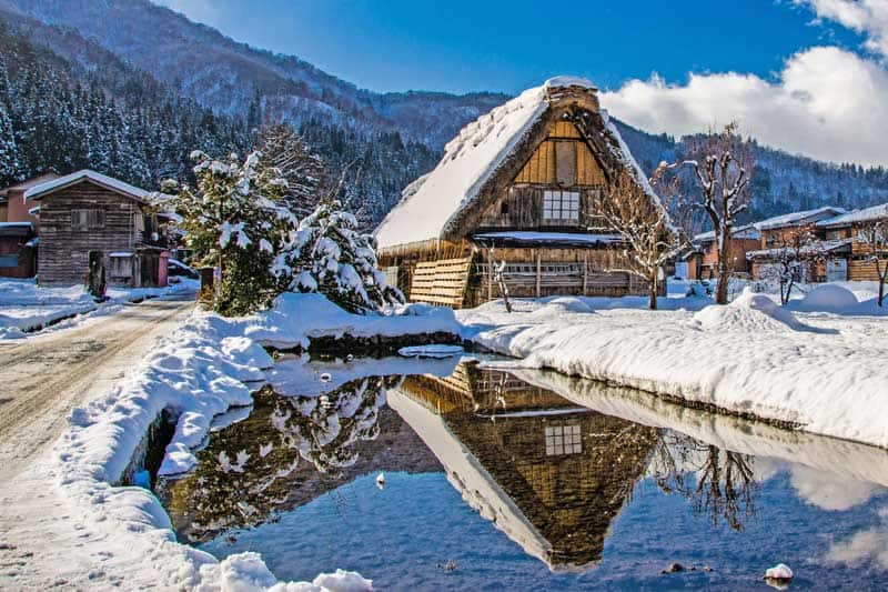 A traditional home in the mountains at Shirakawa-go in Japan.