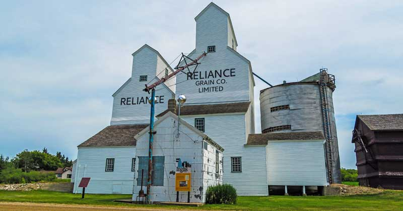 Reliance twin elevators at the Inglis Grain Elevators National Historic Site in Inglis, Manitoba.
