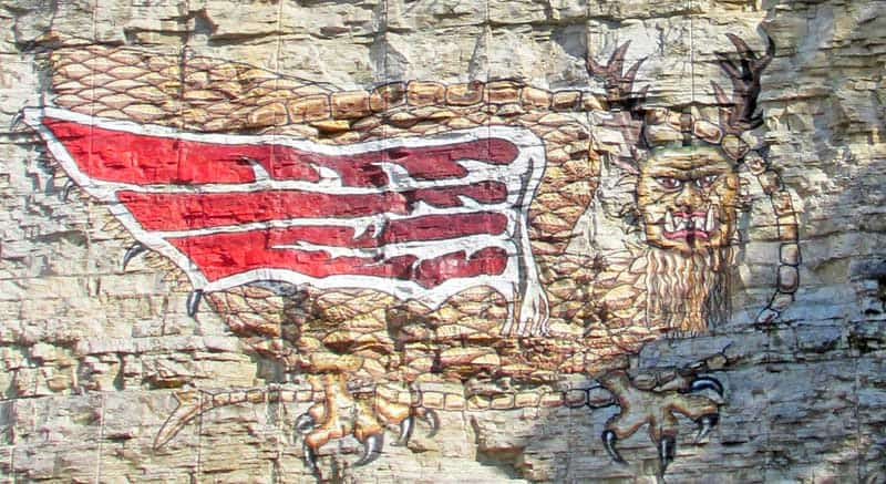 The mythical piasa bird at Piasa Park near Alton, Illinios.