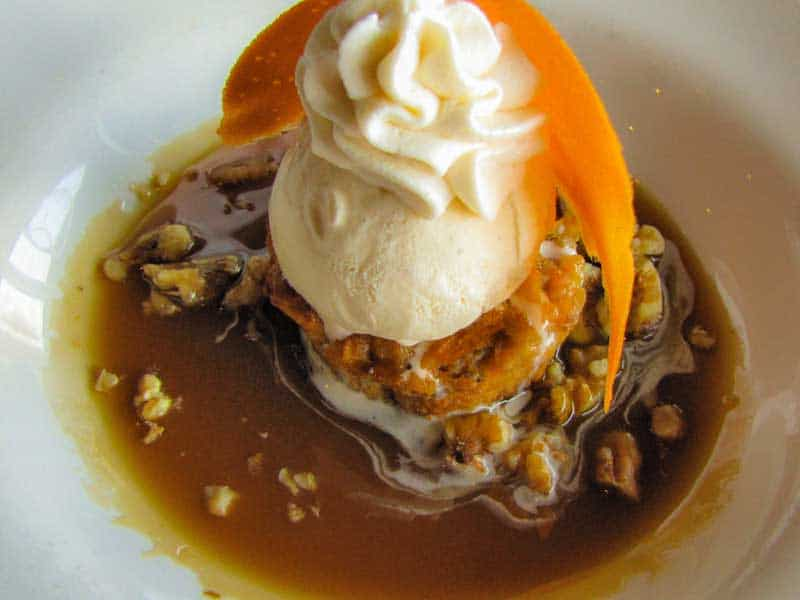 Caramel, Walnut & White Chocolate Bread Pudding served at Gentelin's in Alton, Illinois.