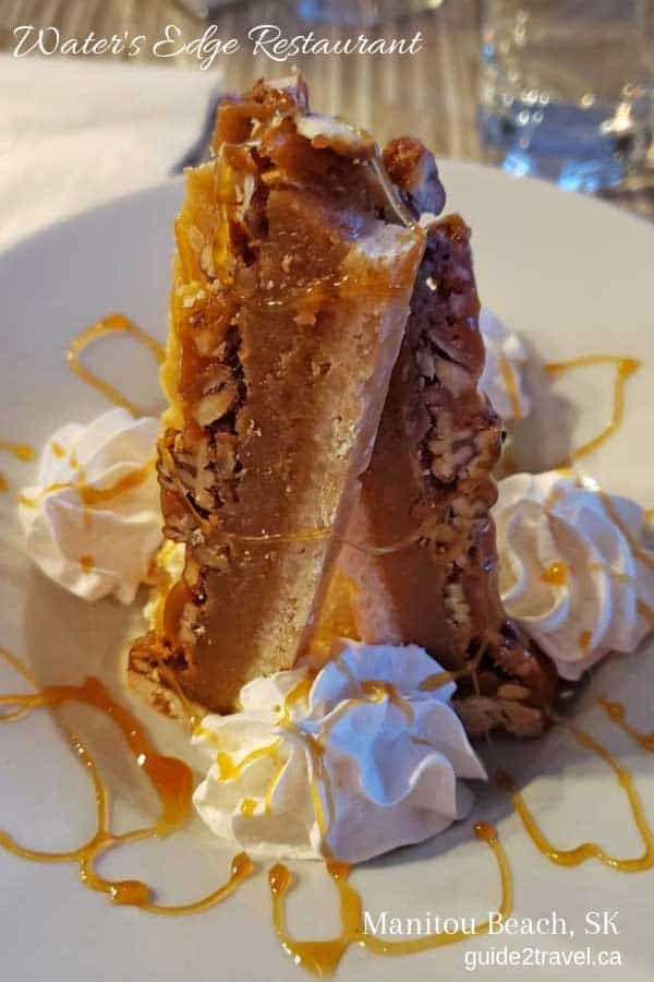 Try this pecan dessert sensation at the Water's Edge Restaurant in the Manitou Springs Resort and Spa in Manitou Beach, Saskatchewan.