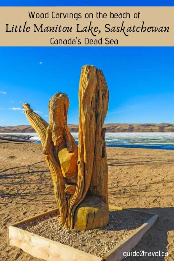 Wood carving on the beach of Little Manitou Lake - Canada's Dead Sea - in Saskatchewan.
