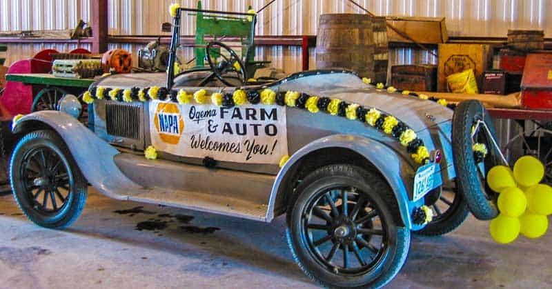 Vintage motor vehicle after a parade on Museum Day in Ogema, Saskatchewan.