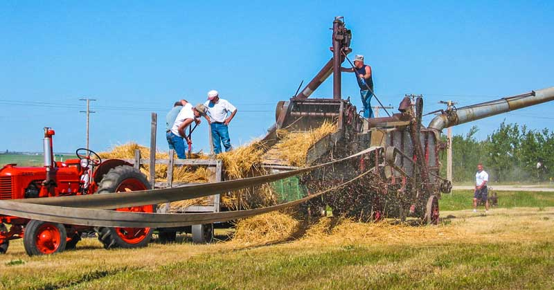 Old time threshing event at Museum Day in Ogema, Saskatchewan.