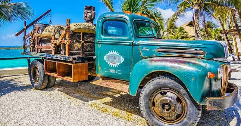 Vintage truck in Cozumel.