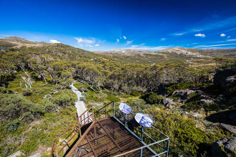 View on Mount Kosciuszko, the highest point in Australia's Snowy Mountains. in