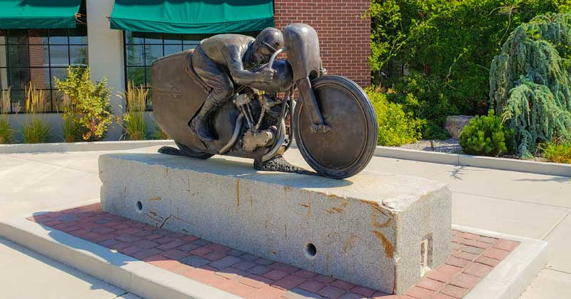 Motorcycle sculpture outside Legends Motorcycles Museum.