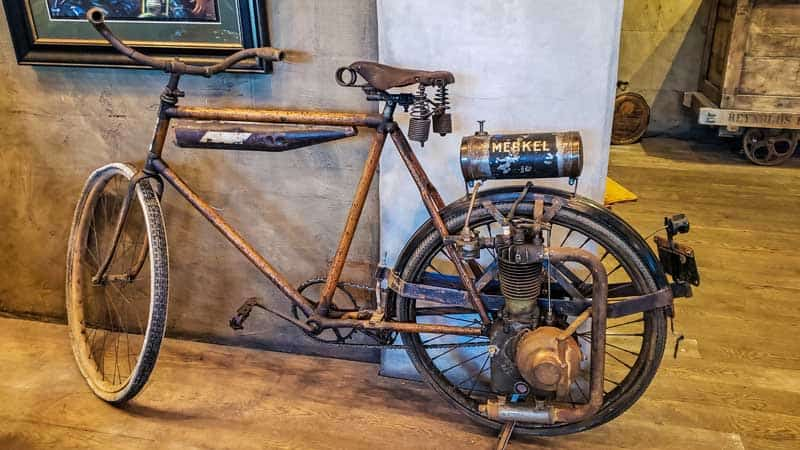 Early 1900s Merkel motorcycle at the Legends Motorcycle Museum.