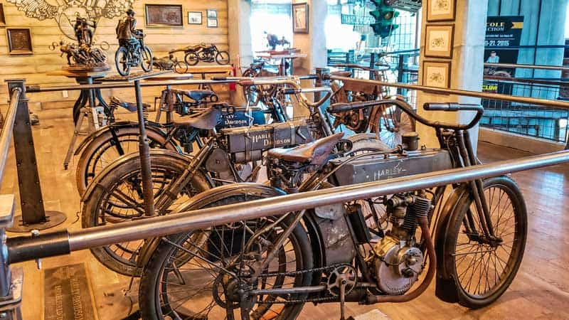 Rare Harley Davidson motorcycles at Legends Motorcycles Museum in Utah.