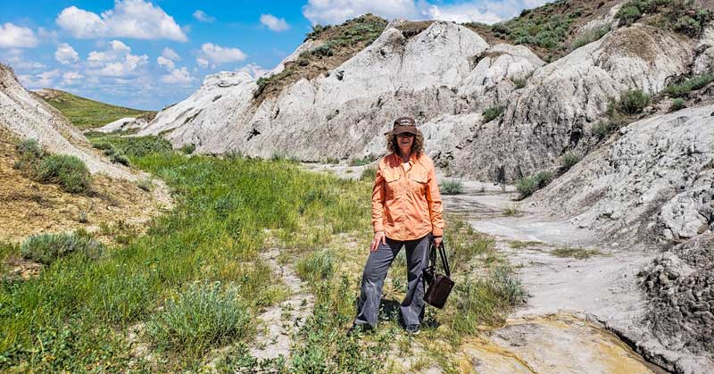 Linda Aksomitis hiking in the Claybank Mud Pits