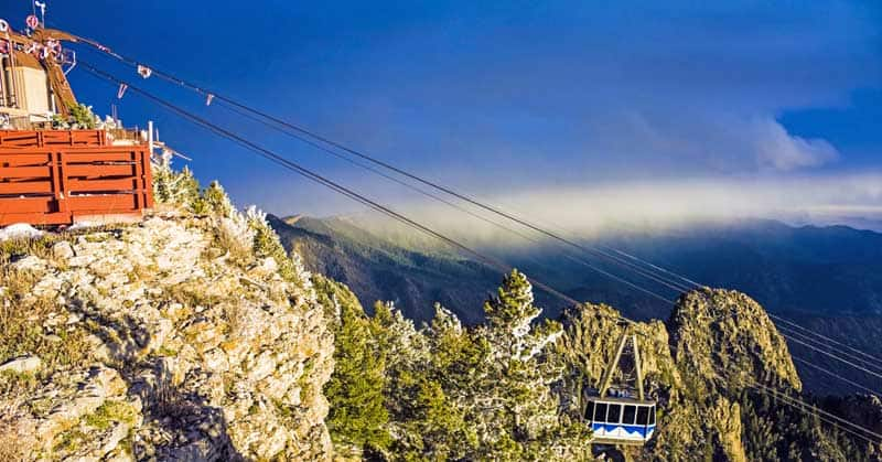 Sandia Mountains Tramway approaching the peak - photo by Ben Krut.
