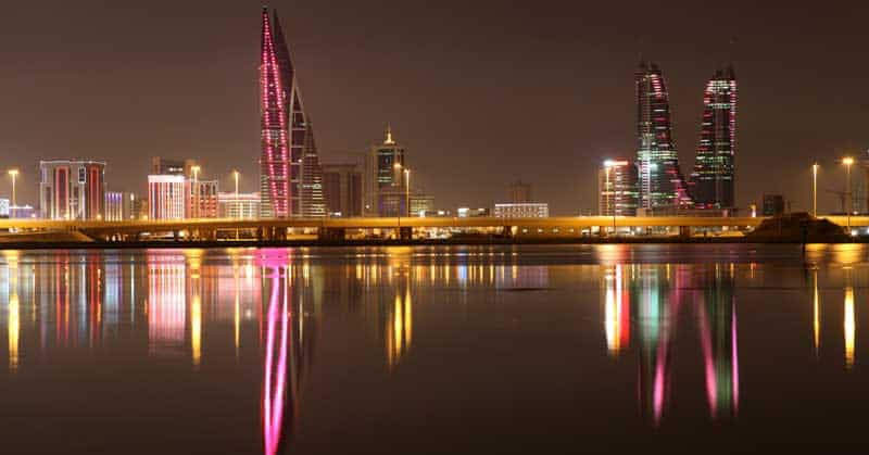 Skyline of Manama at night. Bahrain, Middle East — Photo by philipus