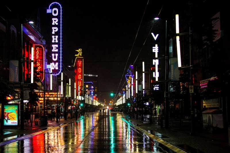 NIghtlife on Granville Street in Vancouver, British Columbia.