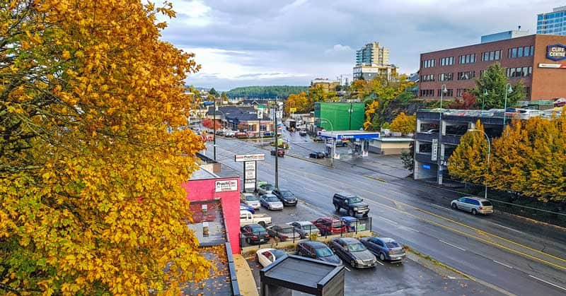 View of the Old City Quarter in Nanaimo, British Columbia.