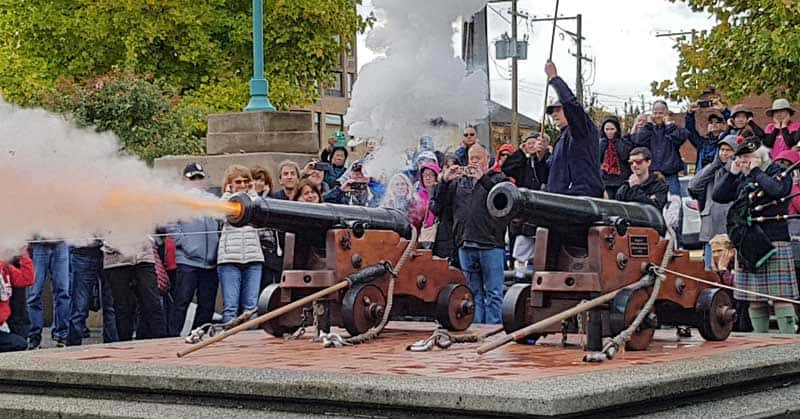 Daily noon hour firing of the canons at the Bastion in Nanaimo, British Columbia.