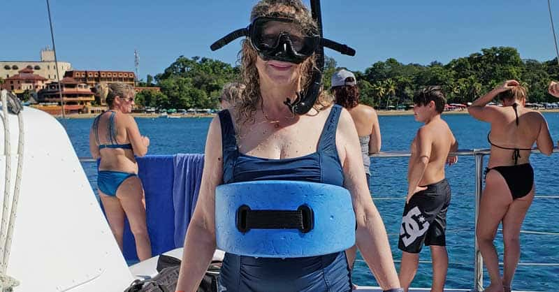 Linda Aksomitis ready to go snorkeling in the Dominican Republic.