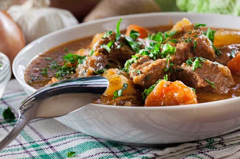 Irish stew made with beef, potatoes, carrots and herbs. Traditional St patrick's day dish — Photo by fotek