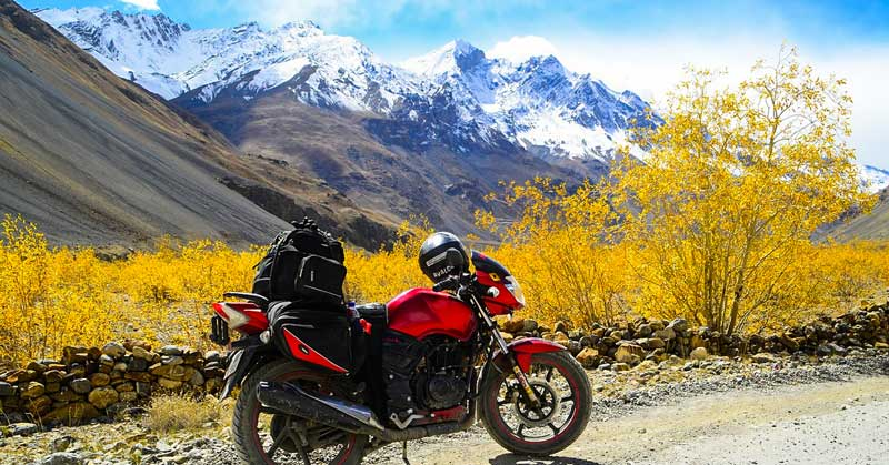 Motorcycle in the HImachal Pradesh range.