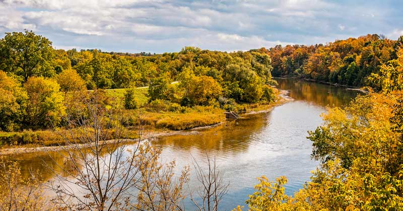 The Grand River in the fall — Waterloo, Ontario.