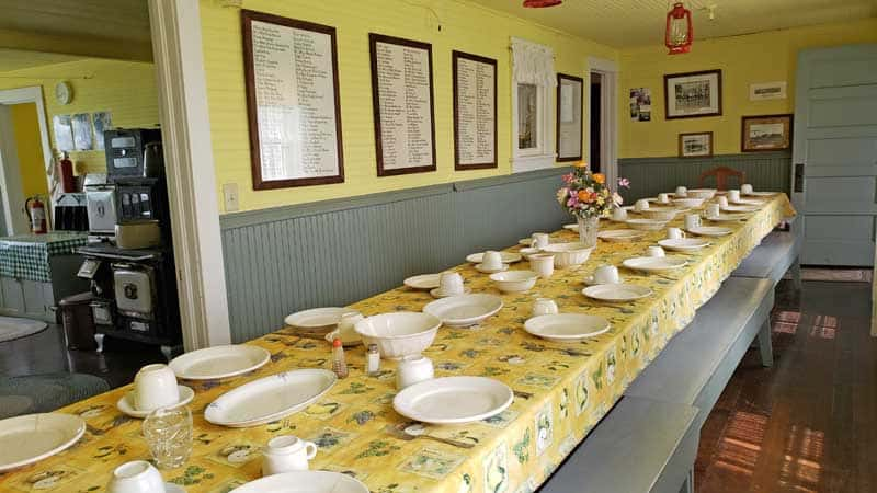Dining table at the Bagg Bonanza Farm main house seated 25 workers at a time.