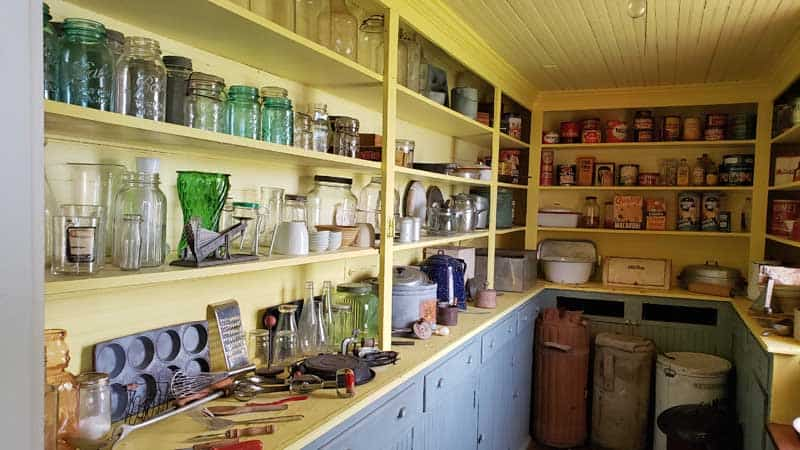 Pantry at the Bagg Bonanza Farm main house is still stocked with all of the cooking equipment.