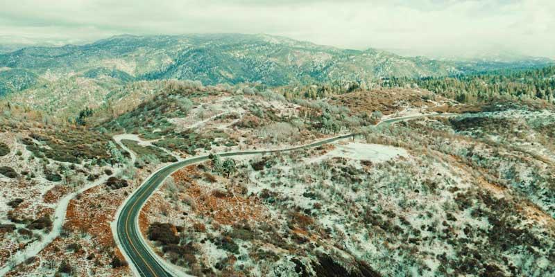 Aerial view of Big Bear Lake in California.