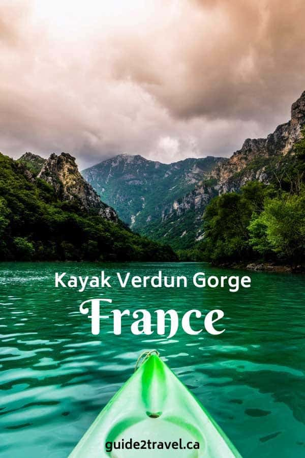 Kayaking in Verdun Gorge Canyon in France.