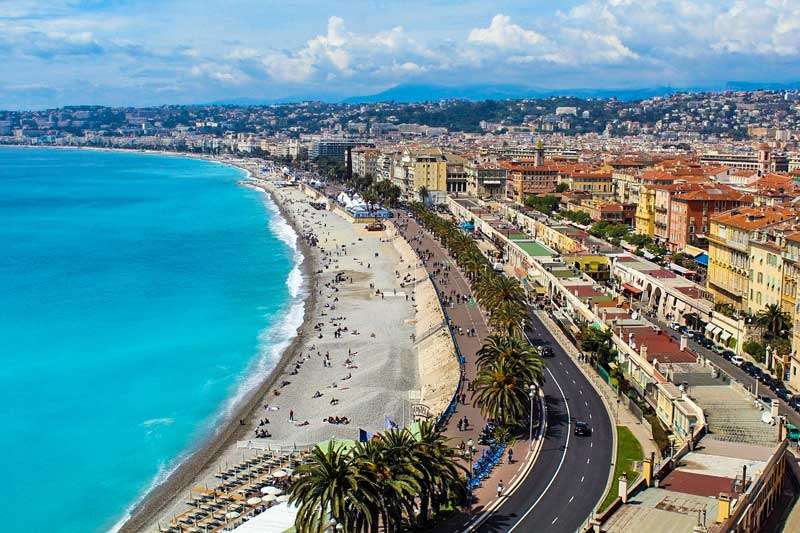 Mediterranean beach at Nice in France.